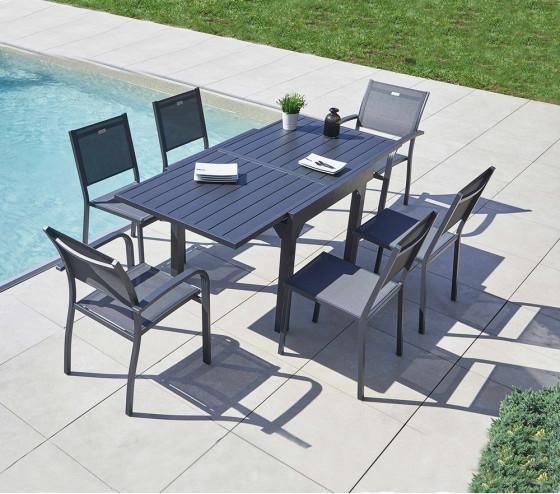 Table de jardin extensible HONFLEUR ALU - 4/6p