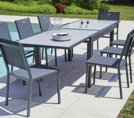 Table de jardin extensible HONFLEUR en verre