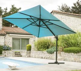 Parasol déporté LUXEKING 3X3m - Bleu canard