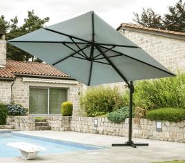 Toile pour parasol déporté carré LUXEKING - Gris perle