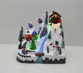 Village lumineux - Montagne avec piste de ski et télécabine