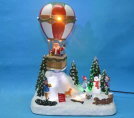 Village lumineux - Père Noël avec montgolfière