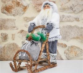 Père Noël 45cm en traineau - GRIS