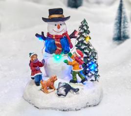 Village lumineux - Bonhomme de neige