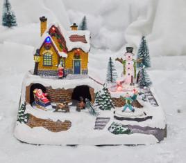 Village lumineux - Maison avec Père Noël et ses rennes
